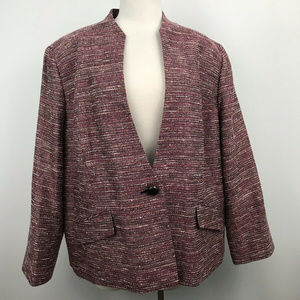 Kasper Pink Tweed One Button Blazer Long Sleeve